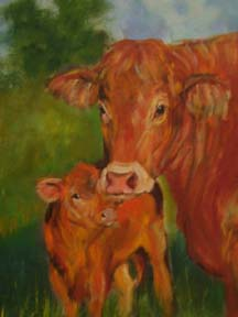 mother and calf oil painting